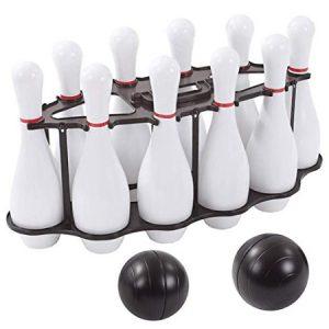 Bowling blanco 10 pinos, 2 bolos. Juego de motricidad gruesa