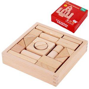 Bloques geométricos de madera en caja